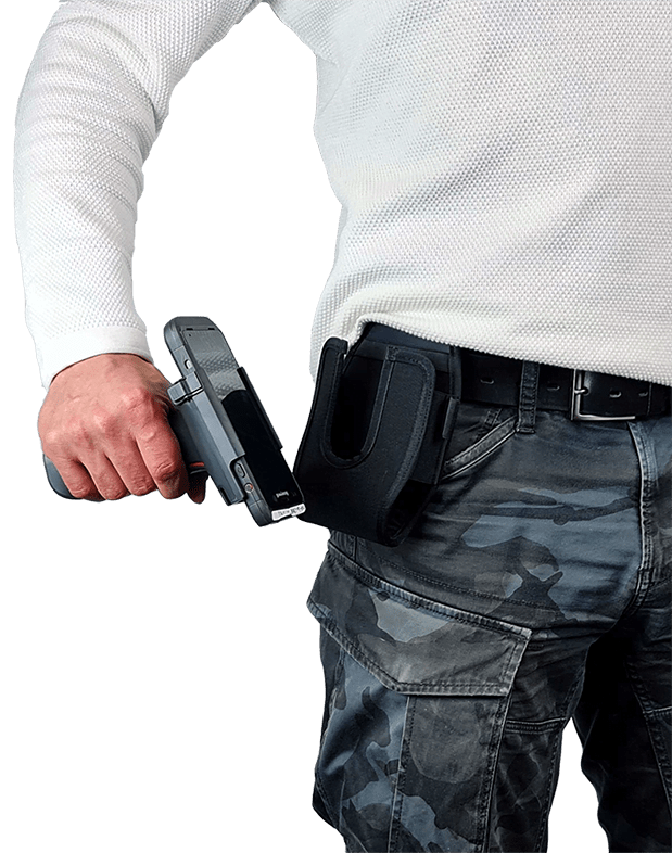 U-type holsters for pistol-shaped devices